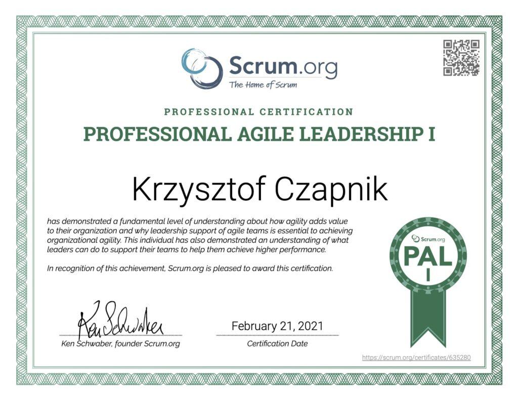 Certyfikat Professional Agile Leadership I - Krzysztof Czapnik