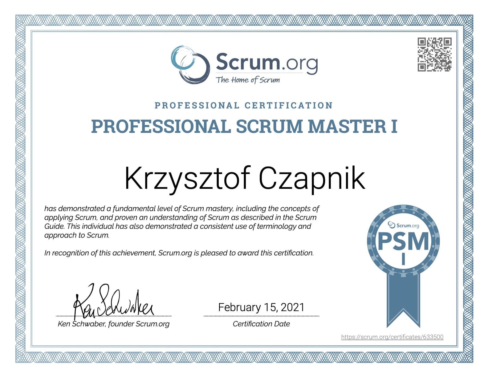 Certyfikat Professional Scrum Master I- Krzysztof Czapnik